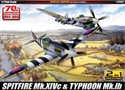 Acadamy 1/72 Spitfire MkXIVc & Typhoon M
